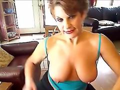 Athletic busty mature fingering