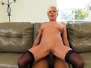 Gorgeous mom Morgan Ray sucking a massive hard boner
