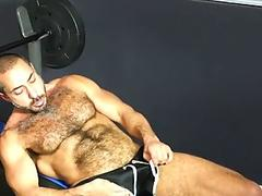 Mature wolf sucking cock after workout