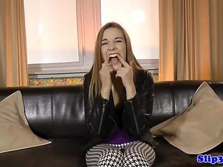 Cock sucking teen chick passes fuck interview