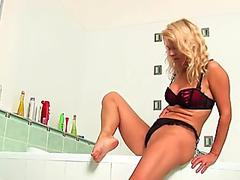 Over 50 granny in passion drains in bathroom