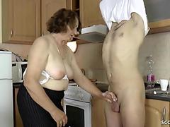 GERMAN STEP-SON SEDUCE HAIRY GRANNY TO GET FIRS FUCK