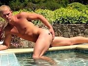 Outdoor stud jerking poolside before cumshot