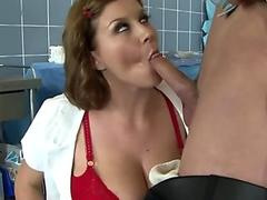 Cocksucking MILF nurse getting fucked
