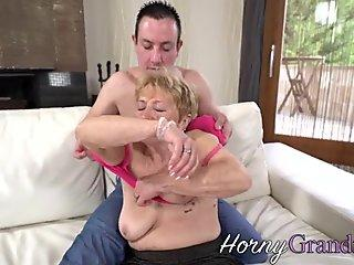 Horny buxom old lady with big jugs