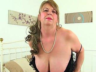 English gilf Elle gets revved on in her leather garb