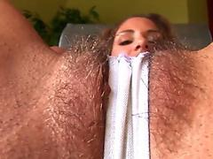 Nasty Eurobabe toys her hairy pussy with dildo like a slut