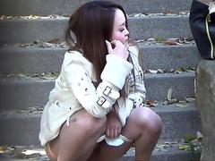 Asians outdoors piss and get caught