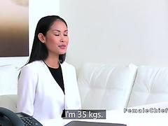 Asian amateur model licked at casting
