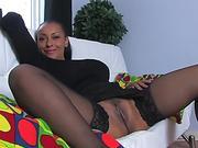Black mom spreading in stockings