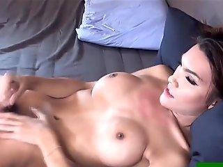Ladyboy Benz in corset anal toy playing