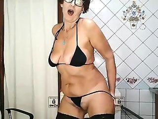 Lukerya housewife ecstasy in the kitchen