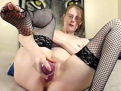 cumming in fishnets