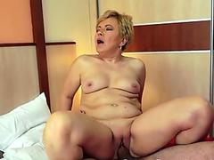 unexperienced milf sucking cock then getting fucked up close POV with internal ejaculation