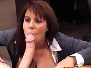 Pawnshop mature customer handling cock