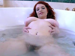 Annabel Redd playing with her hot pussy until the stud arrives nad she grab his huge cock