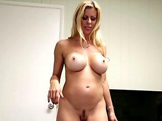 Amateur milf stroking cock and gives titjob