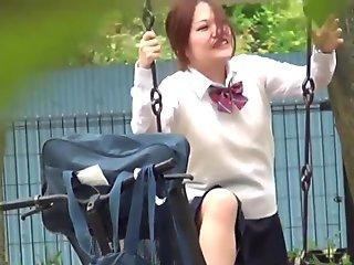 Uniformed asian lady pisses