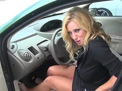 Helping mature blonde lady on the gas station
