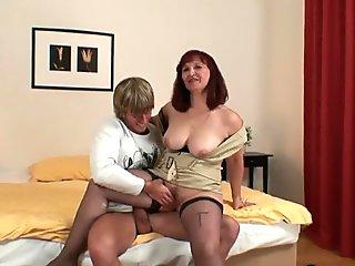 He drills her hairy old pussy