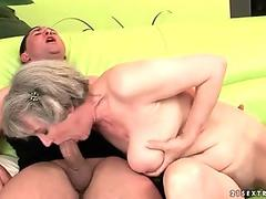 Granny with huge boobs gets fucked hard