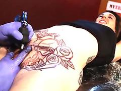 Marie Bossette gets an extreme cooch tat
