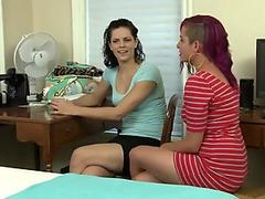 Busty punk lady licks new tenants pussy