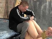 Tied up sub twink slammed by big dicked maledom