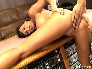 Gwen Summers is doing her first shot, and shes got her round little...
