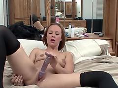 Redhead slut Penelope Sky uses toys to make herself cum