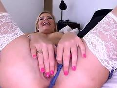 Newbie amateur Lexi Davis spread her legs wide open to fuck her deep in her pussy