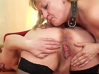 unexperienced wives fuckin' each other with a rubber beef whistle