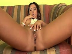 Short haired Amber Wild plugging a stiff cock in her mouth like a lollipop