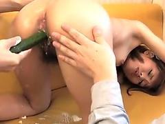 Japanese maid Yui Shimizu in a kinky threeway