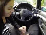 Brunette sucks fake cops dick on the public road