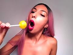 Erotic ASMR - Red Lipstick Lollipop Tease - Sucking And Licking Noises