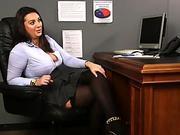 Busty brit voyeur teases cfnm sub from desk