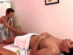nasty granny masseuse gets banged from behind