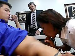 Daddy and Asian Boys Bareback Threesome