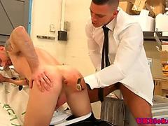 Raunchy young man strokes his big hairy meat joystick
