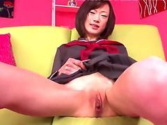 Skinny Japanese schoolgirl's fuck ends in a creampie