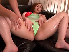 Nao Mizuki receives a edible man sausage to bang her tight vag