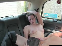 Cocksucking cabbie pleasures her passenger