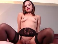 Horny MILF Reverse Cowgirl in Black Stockings and Garters