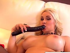Hot Blonde hottie Sarah Vandella uses a big toy in her tight pussy