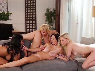 Riding huge anal dildo