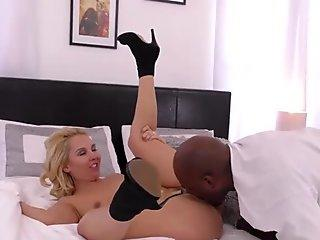 Blonde babe riding big black dick