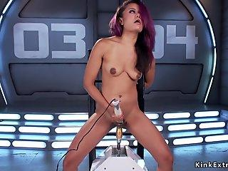 Petite Asian in boots fucking machine
