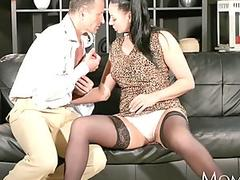 Netted babe Sabrina Sweet getting cummed by two massive cocks on her mouth