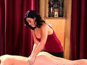 Massaged lesbian milf rides face